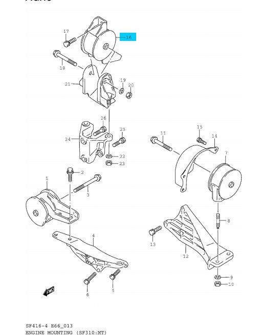 Suzuki Swift 1,0 motortartó motor tartó gumibak gumi bak