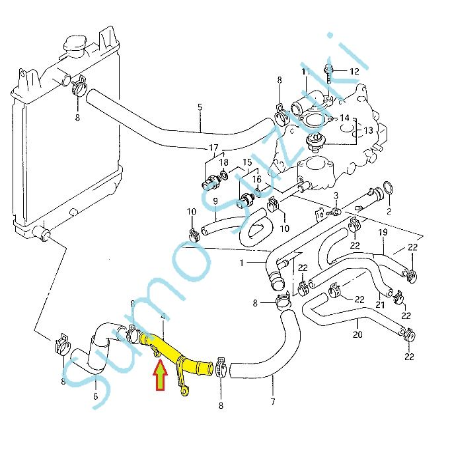 Suzuki Swift 1,3 fém vízcső hűtő víz cső 17860-63B01