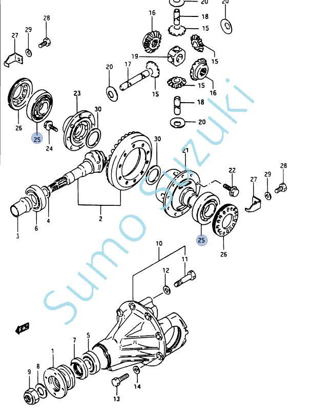 Suzuki Samurai, Jimny, Vitara, csapágy differenciálműben