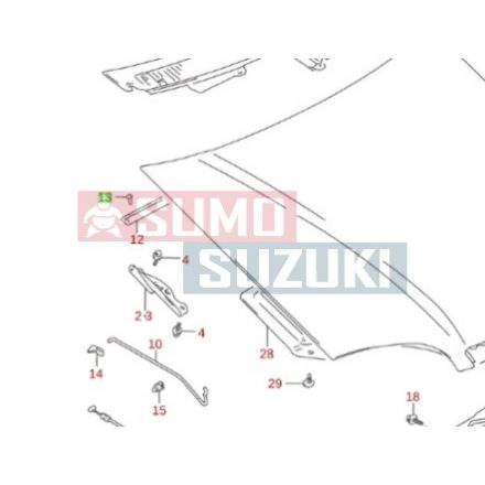 Suzuki Swift motorháztető hátsó tömítés patent 09229-04019-E