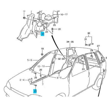 Suzuki Swift 1990-1998 patent (benyomós, fekete, nagy) utastérben kerékjáratnál 09409-07321-5PK