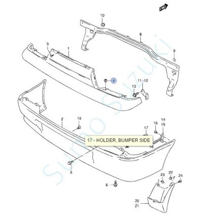 Suzuki patent, első-hátsó lökhárító Swift 1992-2004-ig  09409-07325-5PK