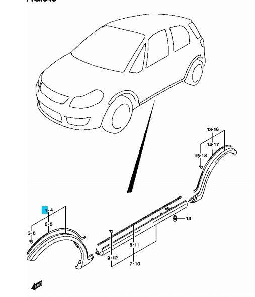 Suzuki Swift 2005-> SX4 díszléc, küszöb borítás patent