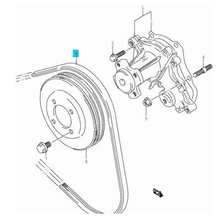 Suzuki vízpumpa+generátor szíj (GATES) 17521-86520-GATES