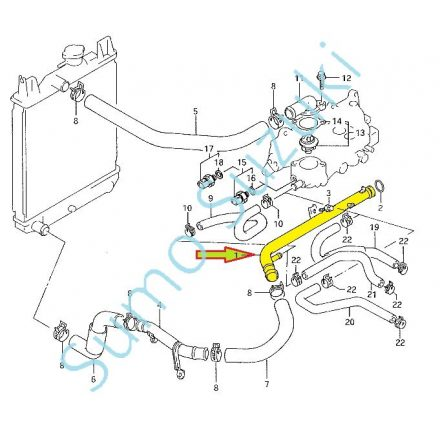 Suzuki Swift 1,3 fém hűtő vízcső 17840-63B01