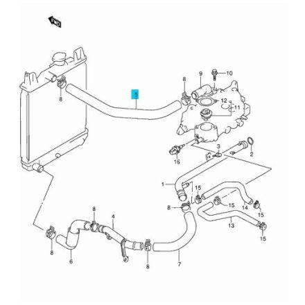 Suzuki Swift 1,3 8V felső hűtő víz befolyó cső 17852-63B30