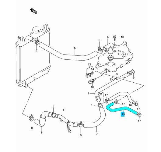 Suzuki Swift 1,3 8V fűtéscső vízcső fűtés víz cső 17871