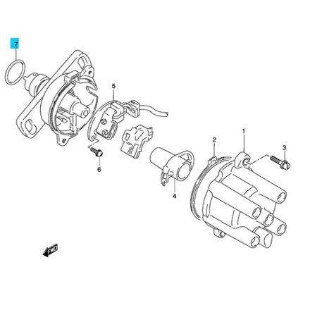 Suzuki Swift 1990-2003 Wagon R 1,0 gyújtás elosztó alatti gumi gyűrű, O-gyűrű GYÁRI 33278-54E10-E