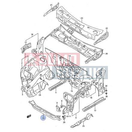Suzuki Swift első alsó kereszttartó 1990-2003 utángyártott 58210-60B01