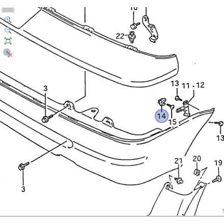 Suzuki Swift 1990-96 első és hátsó lökhárító tartó rögzítő patent 71753-60B00-SS